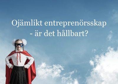 Livesändning med fokus på jämlik finansiering av entreprenörskap